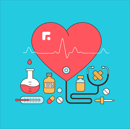 nurse injection: Medicine background with pills, medical and lab equipments. Design elements for mobile, web applications. Illustration