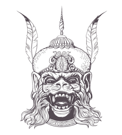 thai tattoo: Hand drawn Indian god Hanuman with the monkey face on a white background. Grunge print. Vintage style.