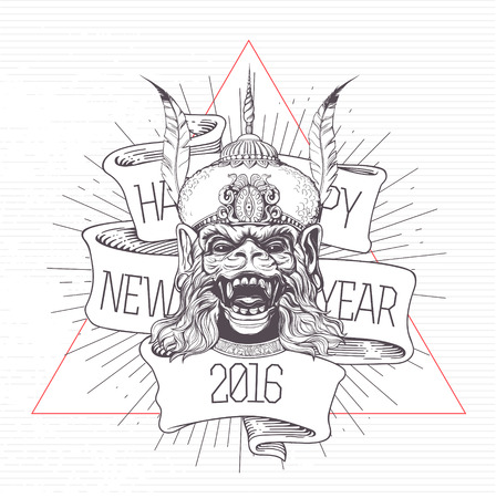 baner: Hand drawn Monkey head on a white background. Grunge print. Vintage style. Happy New Year Baner.