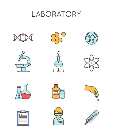 symbol of pharmacy: Medical and Laboratory outline icons set. Outline style