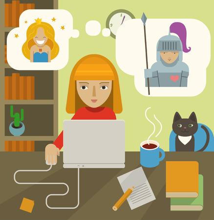Schrijver op het werk. Schrijver schrijft een verhaal, werken op de computer. Vector Illustratie