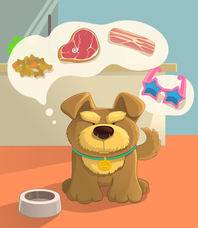 Your pets dream. Cute brown doggy dreaming about food. Imagines sausage, bacon, steak, shoes. Cartoon style.