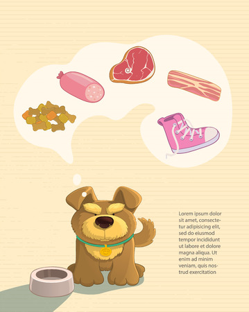 doggy: Your petss dream. Cute brown doggy dreaming about food. Imagines sausage, bacon, steak, shoes. Cartoon style. Illustration