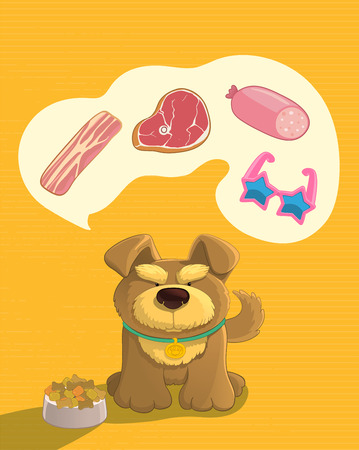 imagines: Your pets dream. Cute brown doggy dreaming about food. Imagines sausage, bacon, steak, shoes. Cartoon style.