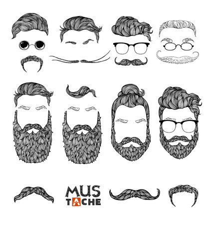 Hand Drawn Mustache Beard and Hair Style.