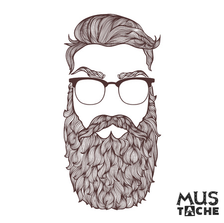 men hair style: Hand Drawn Mustache Beard and Hair Style.