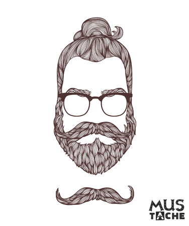 curled lip: Hand Drawn Mustache Beard and Hair Style.