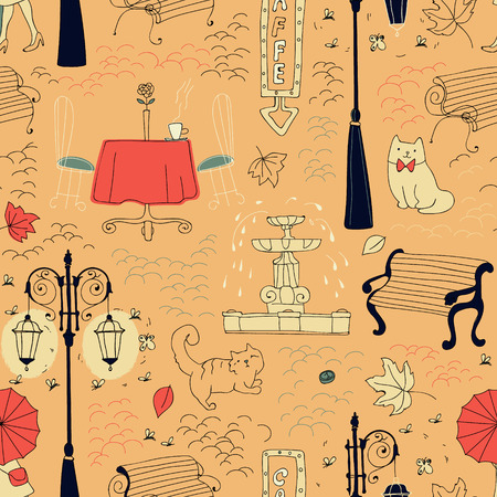Seamless pattern in draft style with the fountain, lantern, city cats, paving, girl with an umbrella.