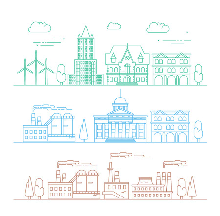 environment: Vector city, environment and industry illustration in linear style - buildings and factories - graphic design template. Illustration