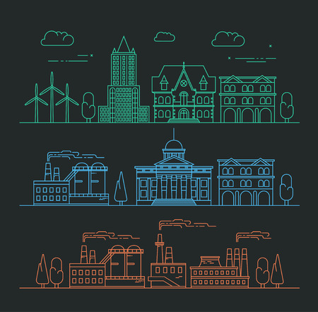 Vector city, environment and industry illustration in linear style - buildings and factories - graphic design template. Ecology concept.