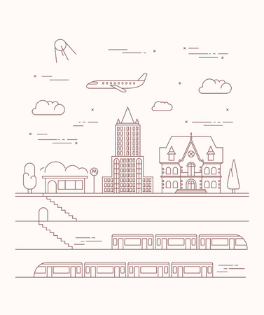 solarpower: Vector city and underground illustration in linear style - graphic design template.