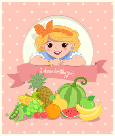 watermelon woman: Pretty Girl with Healthy Food. Retro stylized Illustration. Illustration