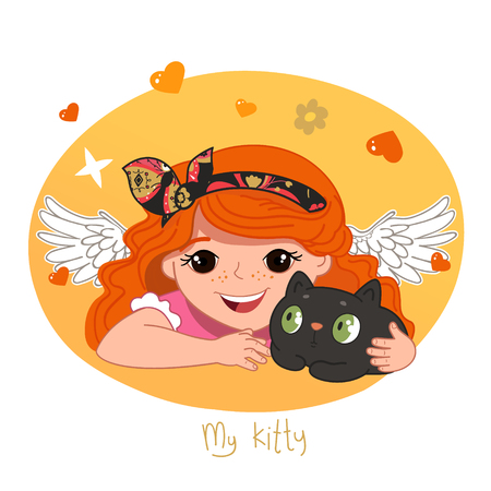 redhead girl: Cute redhead girl and her kitty. Vector Illustration