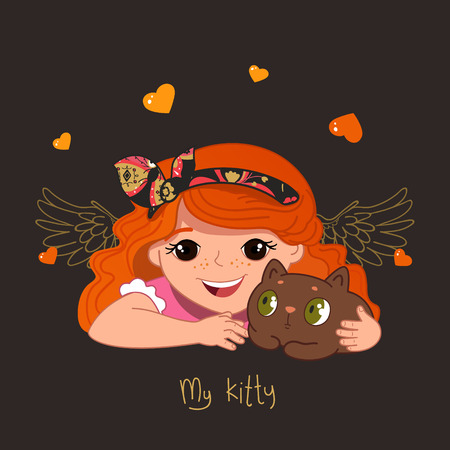 cosplay: Cute redhead girl and her kitty. Vector Illustration