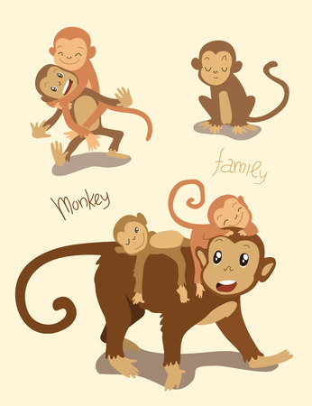 catroon: Monkey family. Mom monkey with the cute monkey children playing together.
