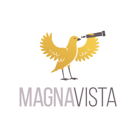 Yellow Bird Holding a Binoculars. Logo design vector template. Creative concept for recearch organizations. Imagens - 47067012