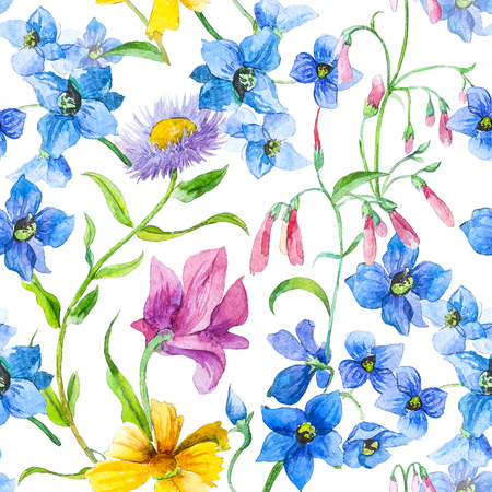 svg: Watercolor Colorfull Summer Flowers. Seamless pattern.