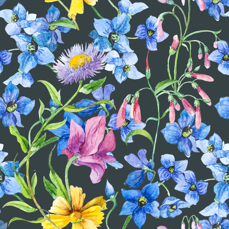 Watercolor Colorfull Summer Flowers. Seamless pattern.