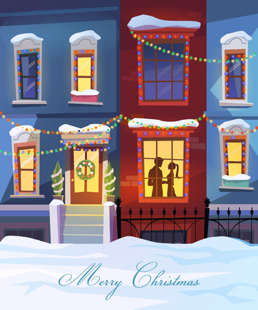 StreetWinter city street with Christmas decorated homes and couple in love. Vector illustration. Can be used as a poster or postcard.