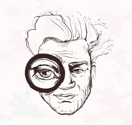 notifying: Man looks throug magnifying glass. Hand drawn. Vector. Illustration