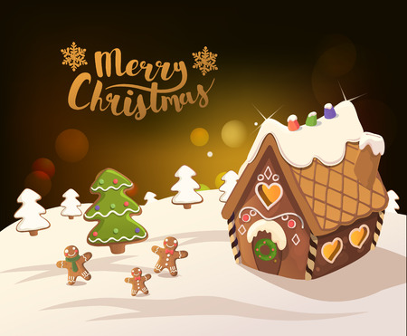 Cristmas Background with gingerbread house, tree, and little men, Vector.