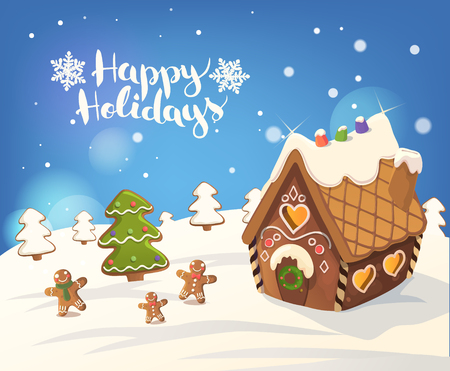 background house: Cristmas Background with gingerbread house, tree, and little men, Vector.