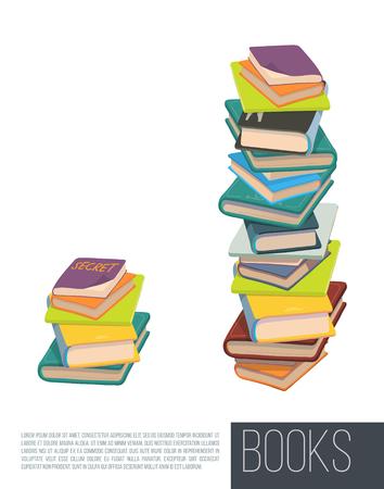 trabajando duro: Pila de libros diferentes. Vector. Vectores