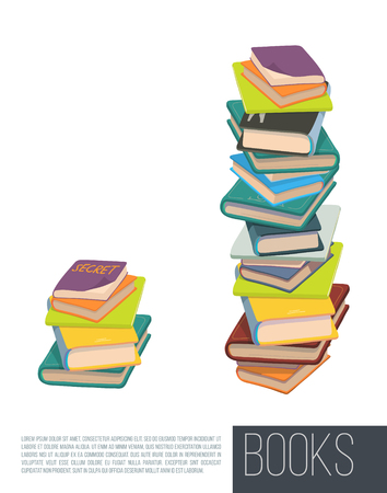 hard: Pile of different books. Vector. Illustration