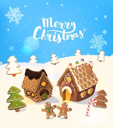 Cristmas fond avec la maison de pain d'épice, arbre de noël, et de petits hommes, Vector. Vecteurs