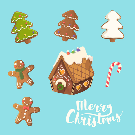 Cristmas Cookies Set. Ginger house, little man, christmas tree and candy. Vector. Illustration