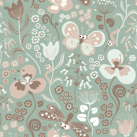 Colorful seamless floral pattern with stylized butterfly and dragonfly.