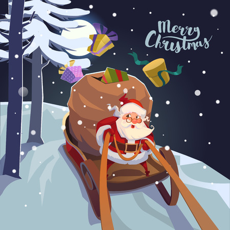 reindeers: Santa Claus in a sleigh with presents in a hurry for the holiday. Christmas greeting card poster.