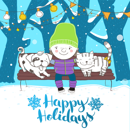 frendship: Cute boy hugs his lovely friends dog and cat. Sitting on a bench. Holidays illustration. Vector. Illustration