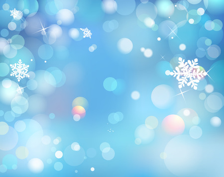 Blue Winter Shining Bokeh Background With Snowflakes.