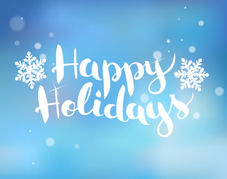 greeting card background: Brush  lettering on a blue background with snowflakes Happy Holidays.