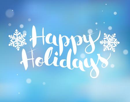 schneeflocke: Pinsel-Schriftzug auf einem blauen Hintergrund mit Schneeflocken Frohe Feiertage.