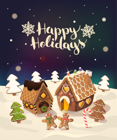 background house: Cristmas Background with gingerbread houses, candy, and little men,