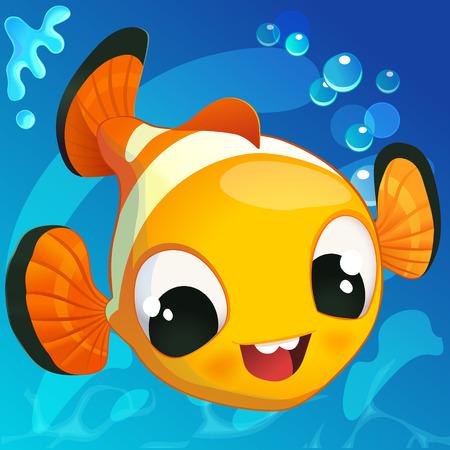 clown fish: Cute Clown Fish in Cartoon Style on a Blue.