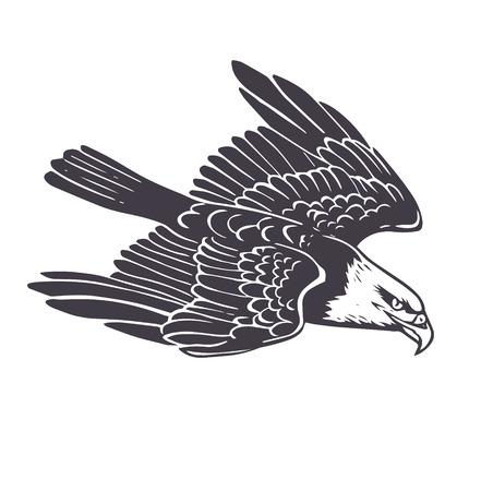 black american: eagle. Monochrome print illustration