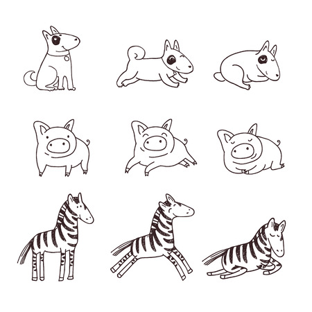 strip a cow: Cute doggies, pigs and zebras. Childrens illustration in a doodle style.