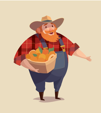 middle aged: Middle aged man-farmer wearing denim with bucket of fruits.