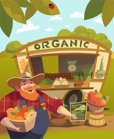 pepino caricatura: Granjero que lleva un sombrero con un cubo lleno de frutas y verduras. Puesto de verduras al aire libre de fondo. Feria vegetal. Comida de mercado. Vector