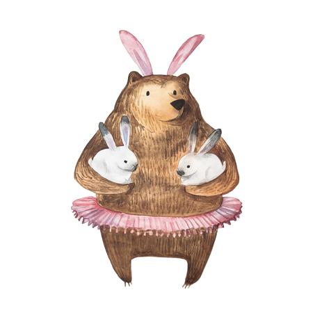 귀여운 곰과 그의 작은 토끼. 손으로 그린 수채화 그림입니다. 외딴. 스톡 콘텐츠