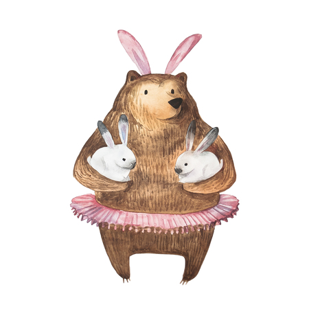 Cute bear and his little bunnies. Hand Drawn Watercolor illustration. Isolated.