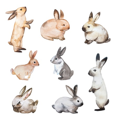 Set of Easter rabbits. Hand drawn sketch and watercolor illustrations.