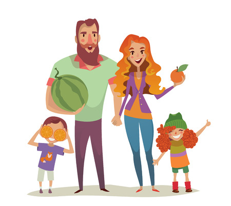 spend the summer: Positive couple with two children and fruits