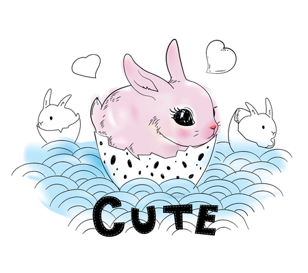 pink rabbit: Cute Pink Rabbit in a Egg Shell. Fashion illustration.