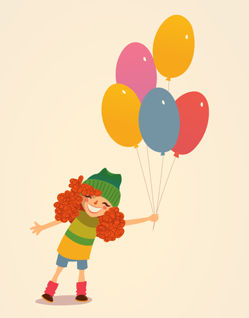 cartoon dress: Illustration of a Cute Girl Holding Balloons.