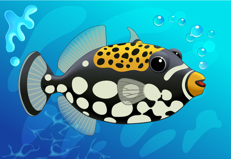 trigger: Cute  Clown Trigger Fish in Cartoon Style on a Blue. Underwater background. Vector