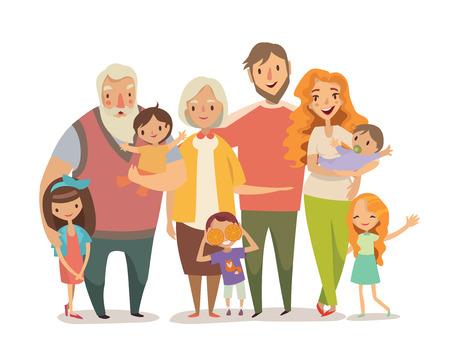 abuelo: Retrato de la familia grande. Madre, hija del padre, el hijo, bebés, abuelos. Vectores